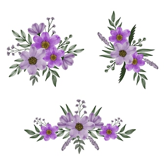 Setze aquarell lila zur begrüßung