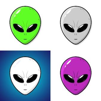 Setze außerirdisches aliengesicht oder kopf