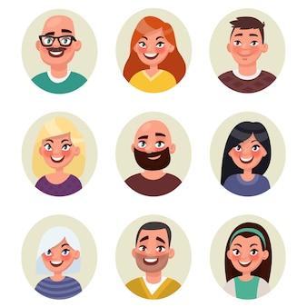 Setze avatare glücklich lächelnde menschen. illustration