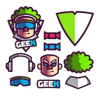 Setze das maskottchen-logo des spieler-geeks