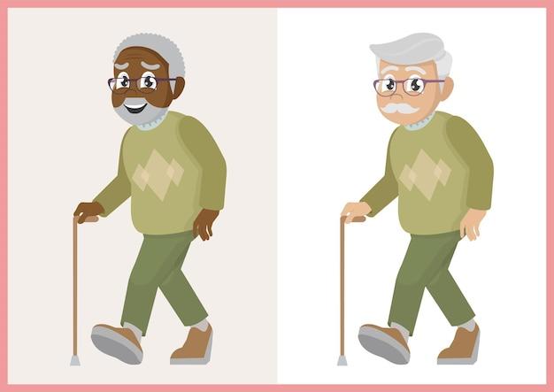 Setze den alten mann mit einem stock spazieren
