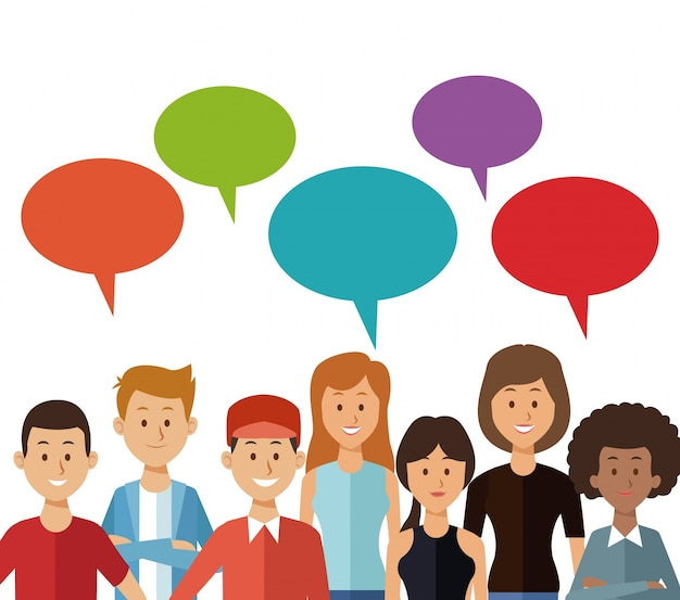 Setze dialogboxen und halbe körpergruppenmenschen