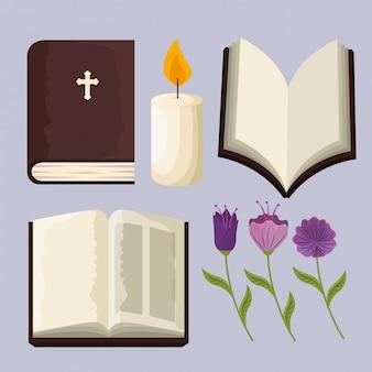 Setze die bibel mit kerzen- und blumenpflanzen zum ereignis