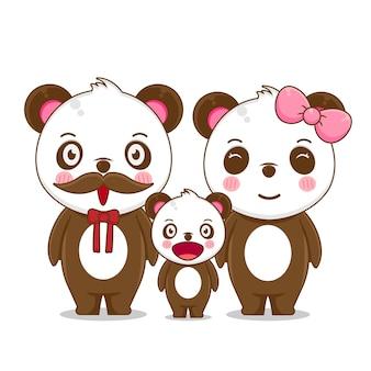 Setze die familie eines glücklichen pandas