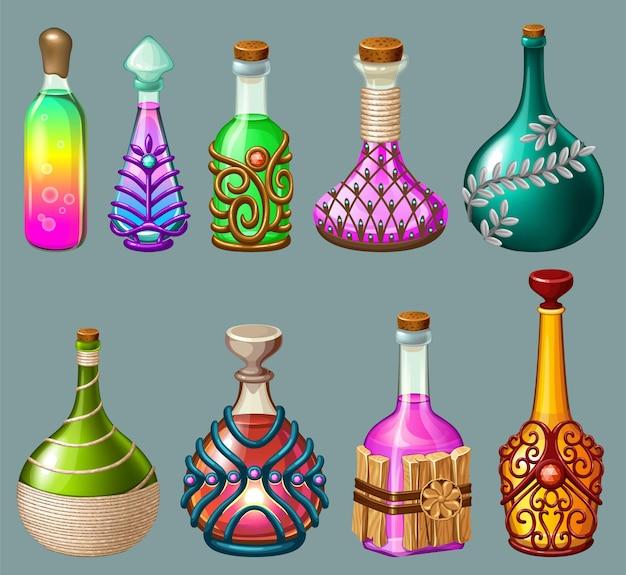 Setze elixiergetränke und gift in glasflaschen.