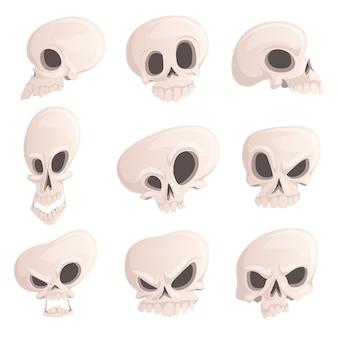 Setze finstere schädel mit verschiedenen emotionen für halloween.