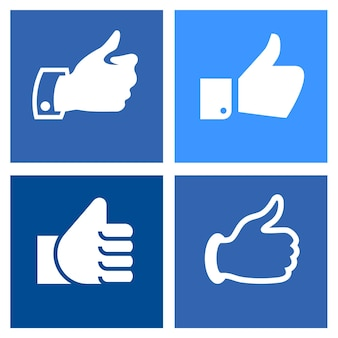 Setze icons auf blauen quadraten