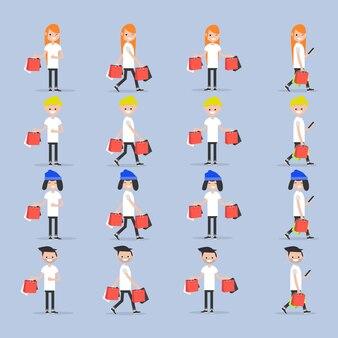 Setze junge charaktere mit einkaufstüten.