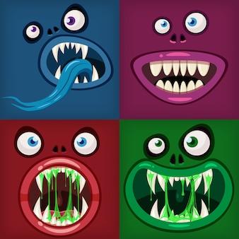Setze monster münder gruselig und gruselig halloween. lustige kiefer zähne zungen kreaturen ausdruck monster horror