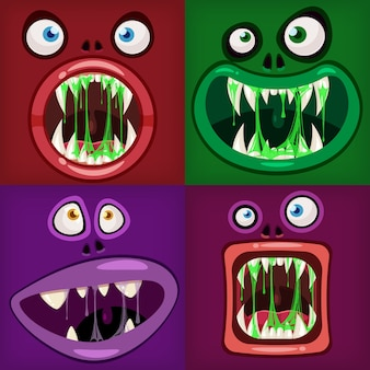 Setze monster münder gruselig und gruselig. lustige kiefer zähne zungen kreaturen ausdruck monster horror