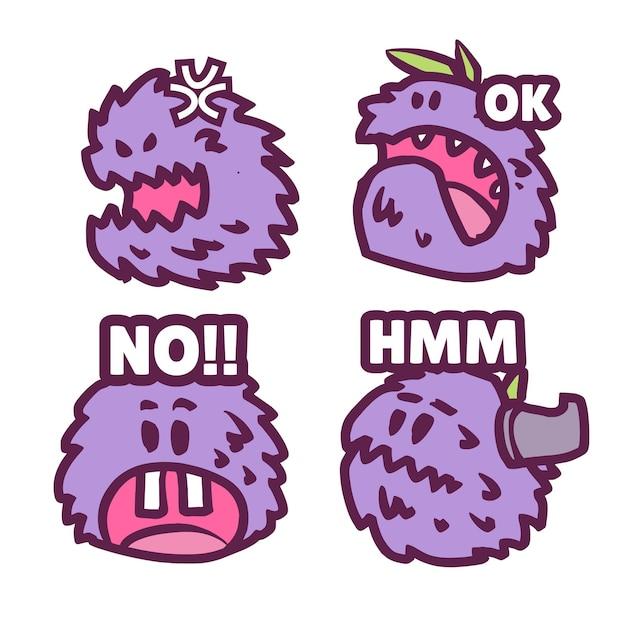 Setze niedliches lila monster-emote