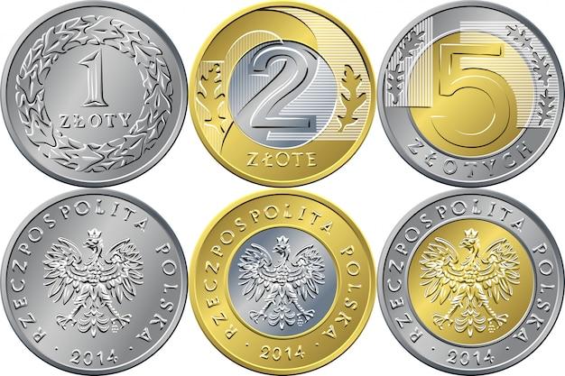 Setze polnisches geld auf eine, zwei und fünf zloty-münzen