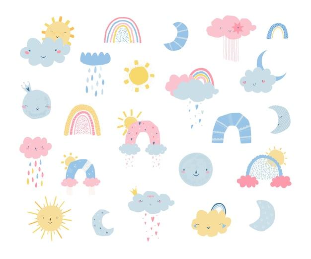 Setze regenbogen mit sonne, wolken, regen, mond