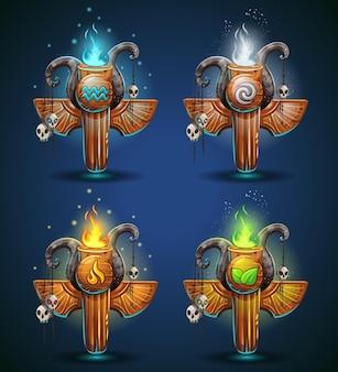 Setze schamanen-totems - symbole der vier elemente. die charaktere des clans, stammes, cartoon-stils.