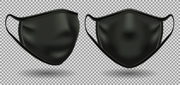 Setze schwarze medizinische masken