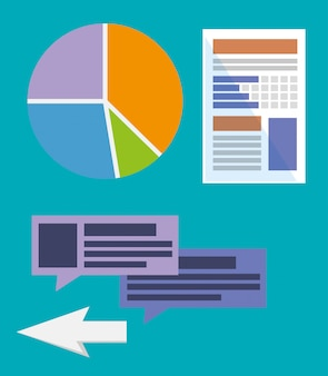 Setze strategie statistik diagramm mit sprechblasen und pfeil