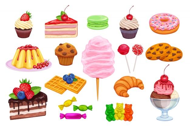 Setze süßwaren- und süßigkeitensymbole