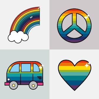 Setze symbole, um die hippies zu repräsentieren