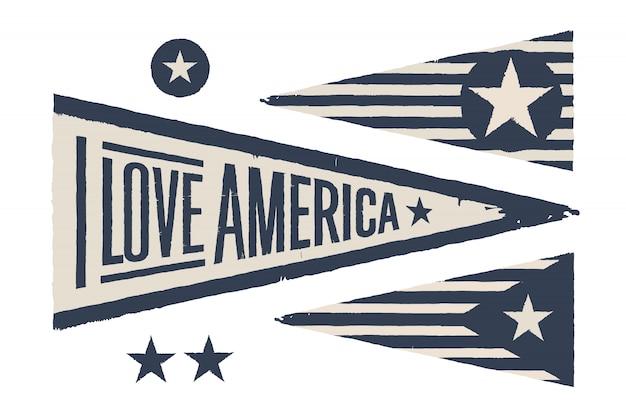 Setze symbole usa. vintage retro grafik flagge, wimpel