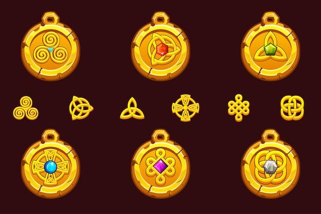 Setze talismane mit keltischen symbolen. keltische ikonen des karikatursatzes.