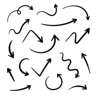 Setze verschiedene handgezeichnete pfeile
