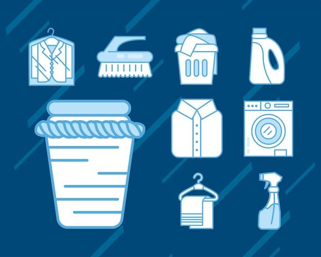 Setze wäscheservice-symbole