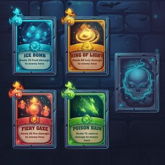 Setze zauberkarten mit feurigem blick, giftregen, eisbombe und lichtring. für spiele, benutzeroberfläche, design