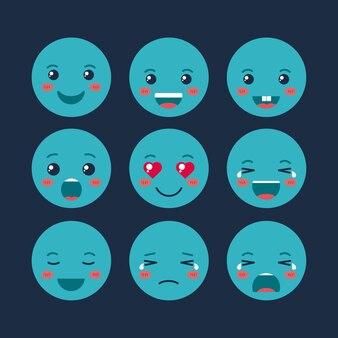 Setzen emoticons kawaii zeichen