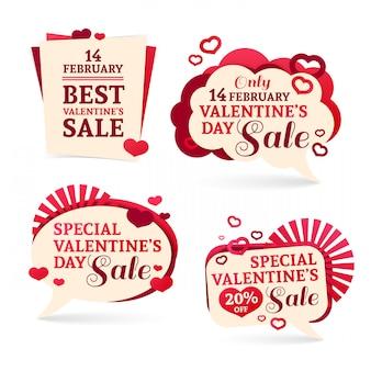 Setzen sie abzeichen, aufkleber für einen glücklichen valentinstag. romantisches rosa mit dem dekor der herzen.