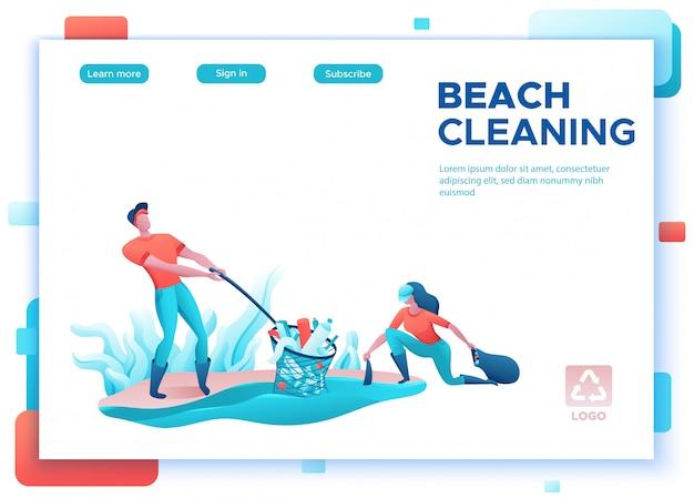 Setzen sie das küstenreinigungskonzept auf den strand und leute mit tasche säubern