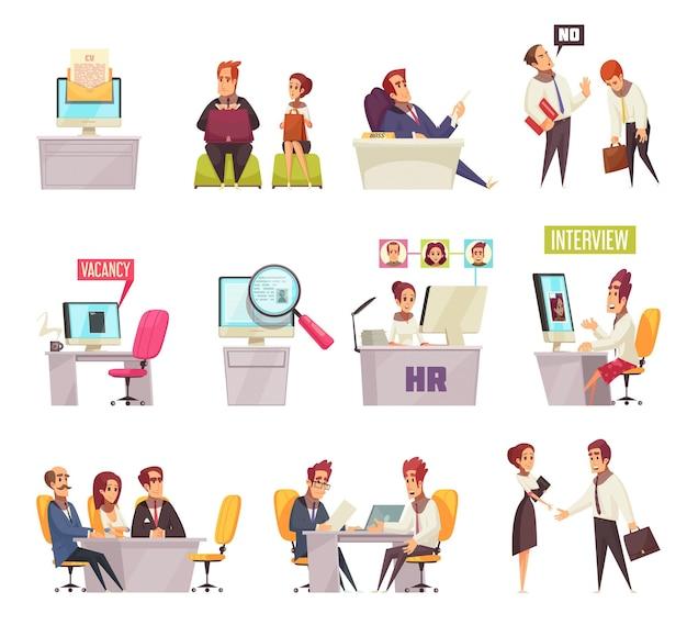 Setzen sie das rekrutieren des satzes ikonen und der zusammensetzungen von bildern mit karikaturbüroangestellten und arbeitsplätzen fort