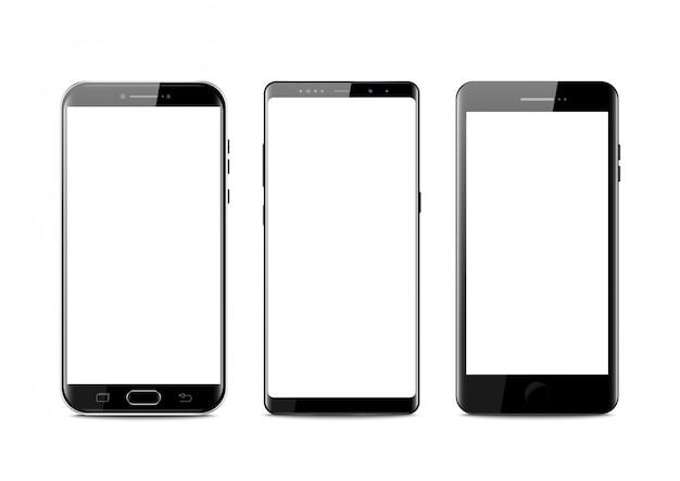 Setzen sie den modernen stil des realistischen mobilen schwarzen smartphone.