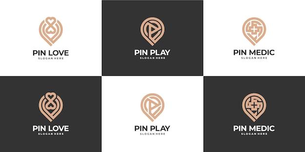 Setzen sie den pin-standort-logo-luxus