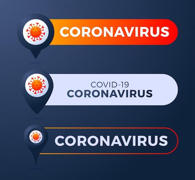 Setzen sie den stift mit der abbildung des coronavirus. coronavirus 2019-ncov epidemisches infografik-element