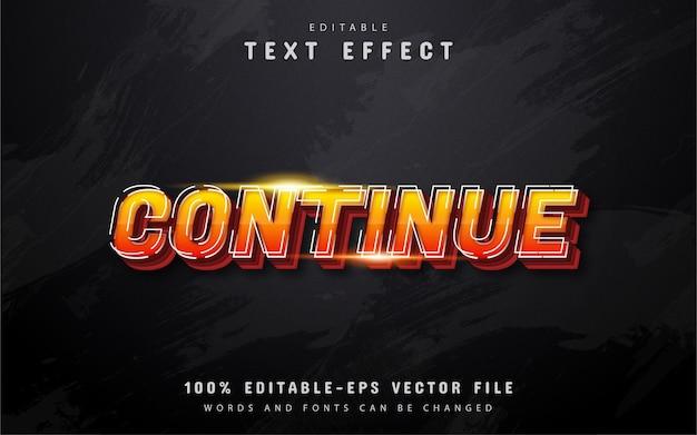 Setzen sie den texteffekt im orangefarbenen farbverlaufsstil 3d fort