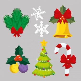 Setzen sie die dekoration der frohen weihnachten zum ereignis