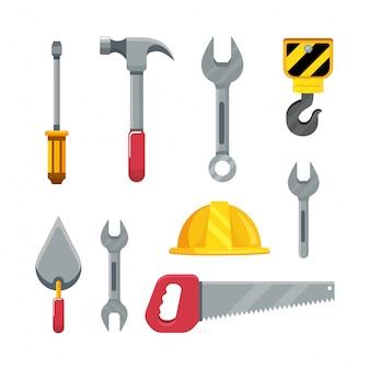 Setzen sie die konstruktionswerkzeuge auf die reparatur des wartungsdienstes