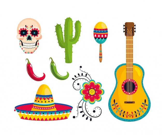 Setzen sie die traditionelle mexikanische dekoration auf die ereignisfeier