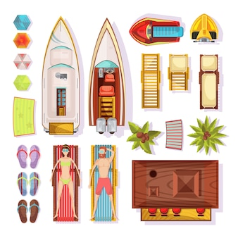 Setzen sie draufsicht der elemente einschließlich leute auf sunbeds pantoffelsonnenschirmbootswassermotorradstange lokalisierte vektorillustration auf den strand