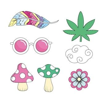 Setzen sie elemente, die von hippie-leuten benutzt werden