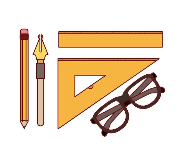 Setzen sie feder und stift mit arbeitselementen für gezeichnet
