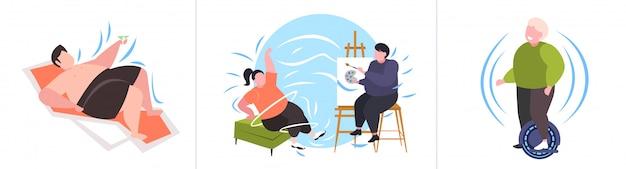 Setzen sie fette fettleibige menschen in verschiedenen posen übergewichtige männliche weibliche charaktere sammlung fettleibigkeit ungesunden lebensstil konzept