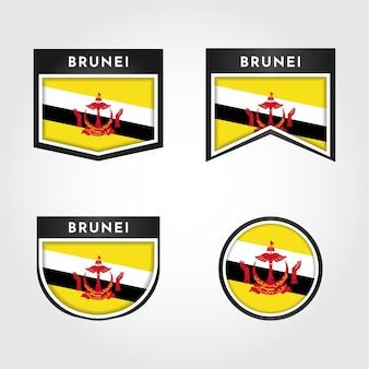 Setzen sie flagge von brunei darussalam mit emblem-abzeichen-etikett