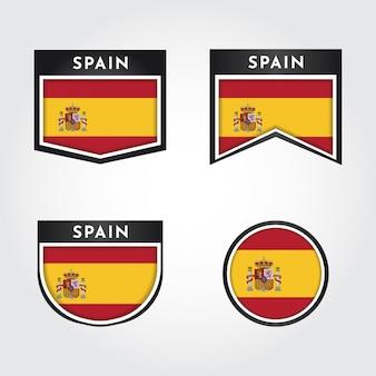 Setzen sie flagge von spanien mit etiketten