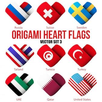 Setzen sie flaggensymbole in form eines herzens.