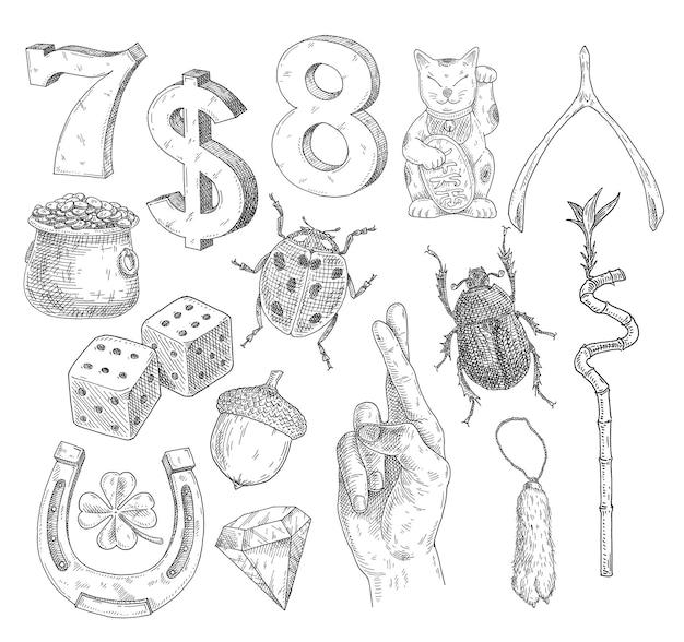 Setzen sie glückssymbole vintage-vektor, der schwarze illustration auf weiß schraffiert