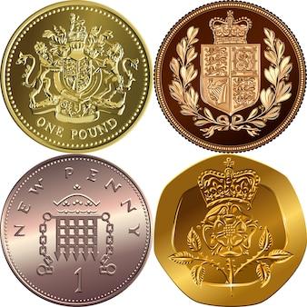 Setzen sie goldmünzen für britisches geld ein