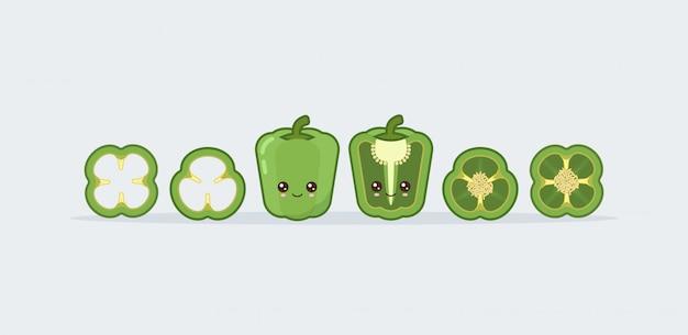 Setzen sie grüne paprika. nettes kawaii lächelndes essen