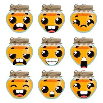 Setzen sie honig mit emotionen. lustige cliparts für kinder. vektor-illustration im cartoon-stil spaß