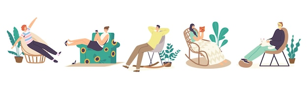 Setzen sie männliche und weibliche charaktere zu hause in bequemen stühlen oder sesseln, möbeldesign, entspannende freizeit. freizeit nach der arbeit oder am wochenende im wohnzimmer. cartoon-menschen-vektor-illustration
